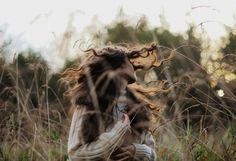 fată, natură, bucle, păr