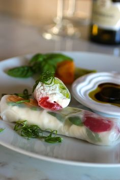 """Caprese-Style Summer Rolls ~  Heirloom Tomato, Burrata Cheese, Basil, Rice Noodle, Olive Oil & Balsamic Vinegar """"Caprese Salad in a Summer Roll"""""""