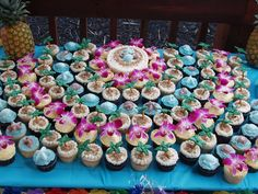tropical wedding cupcakes - Tropical-themed wedding cupcakes with edible orchids, chocolate seashells, and pretzel palm trees!