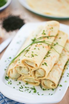 Chicken & Chive Rolled Crepes