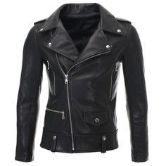 FLATSEVEN Mens Slim Fit Real Leather Asymmetric Zip Biker Jacket Press Stud (LJ701)