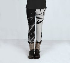 Black and White Lotus Yoga Leggings by SoulPatchCreations on Etsy