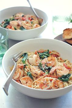 Pasta with shrimp, tomatoes, lemon, garlic and spinach (use whole wheat pasta) Recipe Link: bevcooks.com Click here for more healthy recipes!