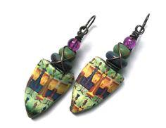 Tribal Jewelry Lampwork Earrings Ceramic Jewelry by SheFliesAgain