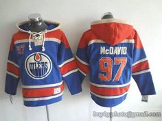 c46908532e6 NHL Edmonton Oilers  97 Connor MCD  ID Lace Up Pullover Hooded Sweatshirt  Blue