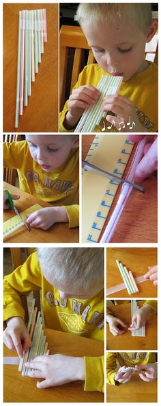 Faça com seu filho sua própria flautinha feita de canudos | Make with your kids your own pan-flute from drinking straws