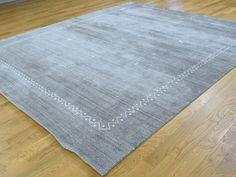 Gabbeh Modern Hand-Loomed Art Silk Grey Oriental Rug- Product:8-3-x9-10-Gabbeh-Modern-Hand-Loomed-Art-Silk-Grey-Oriental-Rug-Sh35875