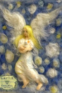 Guardian Angel Cradling Dove. 8 x 10 inches by Castleofcostamesa