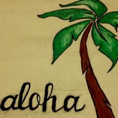 Aloha from Paradise! Hand painted Canvas Tote.. A must for any summer vacation! Currently in production.. Crystalized Ginger Designs:)