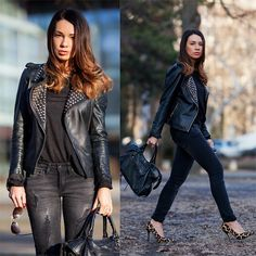 Zara Leather Jacket, Mango Jeans, Balenciaga Bag, Dune Heels