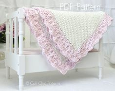 Easy Crochet PATTERN 18 - Sweet Heart- Baby Blanket PATTERN 18 - Pink and Cream Color - Instant Download