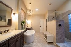 From an ordinary bathroom to a stunning master bathroom to love. This remodel features separated Wellborn vanities, a spacious walk-in shower with drying area, and a soaking tub carefully placed upon gorgeous hexagon mosaic tile to complete this magazine worthy look.  Visit www.twdaz.com for more info and to set up your #phoenixremodel consultation today. #remodel #bathremodel Hexagon Mosaic Tile, Dream Bathrooms, Walk In Shower, Bath Remodel, Remodels, Vanities, Corner Bathtub, Building Design, Master Bathroom