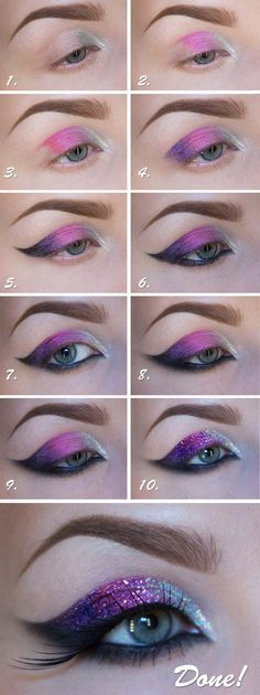 35 Glitter Eye Makeup Tutorials - Tutorial: New Years Glitter Makeup - Step By Step DIY Glitter Eye Make Up Tutorials that WIll Make Yours Eyes Sparkle - Silver and Gold Linda Hallberg Looks, Awesome Eyeshadow Products, Urban Decay and Looks for Your Eyeb Purple Eye Makeup, Glitter Eye Makeup, Makeup Eyeshadow, Prom Makeup, Wedding Makeup, Eyeliner, Eyeshadow Palette, Dress Makeup, Makeup Brushes