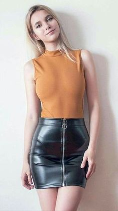 31 Amazing Black Hobble Skirt Ideas # - Mini Skirts - Ideas of Mini Skirts Mini Skirt Dress, Sexy Skirt, Black Leather Skirts, Leather Dresses, Leather Skirt Outfits, Sexy Outfits, Women's Dresses, Fashion Outfits, Evening Dresses