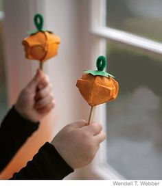Thanksgiving Maracas with part of egg carton, popsicle sticks and pipe cleaner