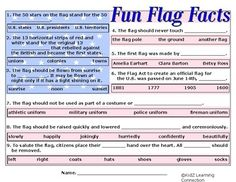 This fun  fill in the blank activity teaches students important information about the history of the United States flag. Students also learn flag facts and etiquette.Find over 190 learning activities at the KidZ Learning Connection  store.