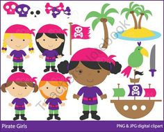 Pirate Girls Clipart product from Digital-Bake-Shop on TeachersNotebook.com