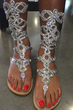 Hand crafted Crystal embedded with Czech Crystals and Swarovski Crystals with, soft leather soles and a suede insert underneath the straps. GUAREENTEED to glist