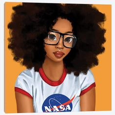 Nerd Girl Art Print by Princess Karibo Black Love Art, Black Girl Art, Black Is Beautiful, Art Girl, Black Art Painting, Black Artwork, Natural Hair Art, Natural Hair Styles, Drawings Of Black Girls