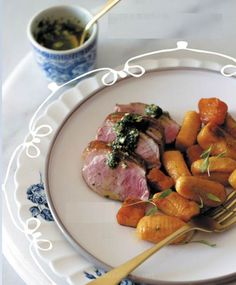 Butternut gnocchi with pan-fried duck breast and mint salsa verdea
