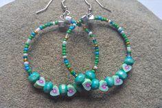 Colorful Hoop Earrings Teal Blue & Green by KidsAtHeartBeadShop