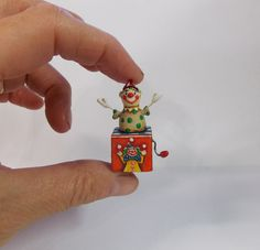 Jester Jack Clown in Box Miniature Dollhouse Doll Folk Art Painting Original