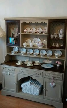 Shabby chic welsh dresser / Hutch painted in Annie Sloan Country Grey