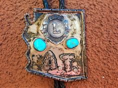 6113b2040e4d Large Sterling Silver Turquoise Bolo Tie / Arizona Lion's Club /Initial AT  / Men's Western Attire / Southwest Attire / FREE SHIPPING