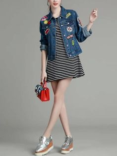 Jaqueta Feminina Jeans com Patches - Compre Online | DMS Boutique