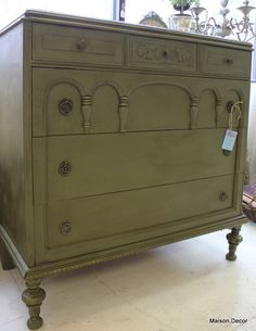 Gothic Dresser in Antiqued Olive by Maison Decor. Possibly refinish the formal dining table like this?