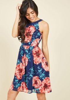 #ModCloth - #ModCloth Day In and Date Out Floral Dress in Navy Blossoms in L - AdoreWe.com