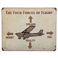 Four Forces of Flight Sign Sporty's Pilot Shop Sold by Sporty's Pilot Shop Humorous Sign Add some humor to your hangar or office with this sign. Vintage finish provides a weathered look. Four holes for mounting. Aviation Quotes, Aviation Humor, Aviation Art, Aviation Insurance, Aviation Fuel, Aviation Technology, Aviation Industry, Image Avion, Pilot Humor
