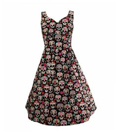 Pretty Sugar Skulls Multicolor Retro dress has a beautiful sweetheart neckline and under bust shirring. Size small - 3X available!
