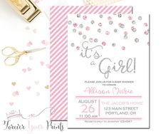 PINK AND SILVER Glitter Baby Shower by ForeverYourPrints on Etsy