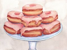 Watercolor Painting Pink Donuts on a Stand: