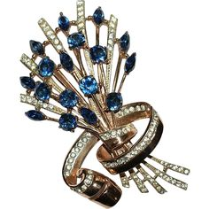 Coro Craft Sterling Blue Rhinestone Floral Pin Brooch 1940's Ad Pc
