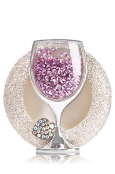 Shaky Wine Glass - Scentportable Holder - Bath & Body Works - Cheers to fresh fragrance! Pair this sparkly wine glass, complete with gems and a heart-shaped charm, with your favorite Scentportable Refill to radiate fragrance into your car without a plug, battery or flame. The built-in clip base attaches to your visor or seat pocket for a scent-sational driving experience.