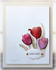 Here´s my card for the colour challenge at CAS Colours & Sketches blog  this week!     I colored the Penny Black Tulip dies with watercolor...