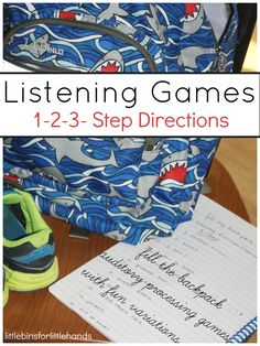 Listening Games for Auditory Processing Skills -pack a backpack or 3 step directions) Listening Activities For Kids, Listening Games, Gross Motor Activities, Listening Skills, Speech Therapy Activities, Language Activities, Preschool Activities, Games For Kids, Therapy Games