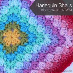 Free crochet pattern! :) http://www.lookatwhatimade.net/crafts/yarn/crochet/block-a-week-cal-2014/bonus-block-1-harlequin-shells/