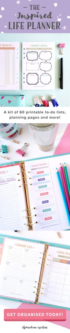 This life planner is going to get you organised in style! Every page was lovingly designed to be functional and pretty. This is a printable planner allowing you to only print the pages you need, and as many times as you want. Click here to read more.