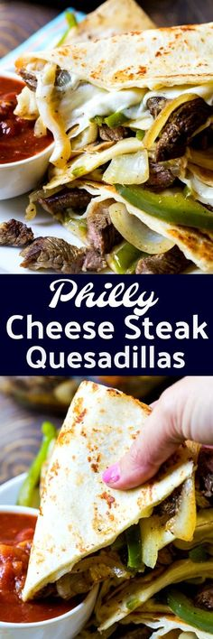 Philly Cheese Steak Quesadillas #appetizer #gamedayfood #beef