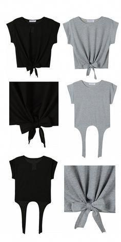 Trendy Sewing Clothes Refashion Inspiration Id Old Tee Shirts, Cut Up Shirts, Cutting Shirts, Ripped Shirts, Latest Fashion Clothes, Diy Fashion, Fashion Outfits, Fashion Ideas, Fashion Shirts