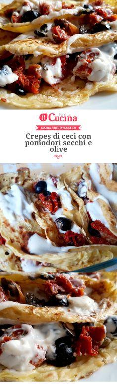 Crepes di ceci con pomodori secchi e olive