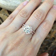 14k Rose Gold Moissanite Engagement Ring Diamond by LaMoreDesign