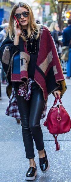 Olivia Palermo:Cape = Burberry  Shoes – SOL SANA  Purse – Louis Vuitton  Plaid shirt – Rails