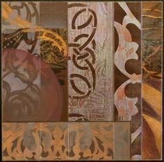 Karen McCarthy mixed media collage - Blue Moons Variations, # 4
