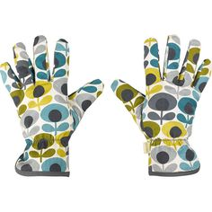 Orla Kiely Potting Gloves - Multi Flower Oval Print (96 BRL) ❤ liked on Polyvore featuring blue