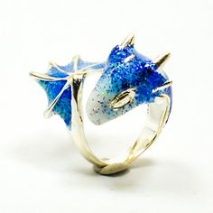 Silver Sapphire Dragon Ring