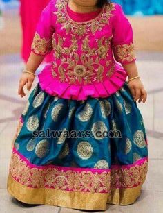 Aqua Blue Lehenga Zardosi Blouse - Indian Dresses Source by salwaarscom Blouses Frocks For Girls, Dresses Kids Girl, Kids Outfits, Baby Dresses, Baby Outfits, Kids Dress Wear, Kids Gown, Kids Wear, Children Wear
